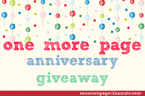 One More Page Anniversary Giveaway