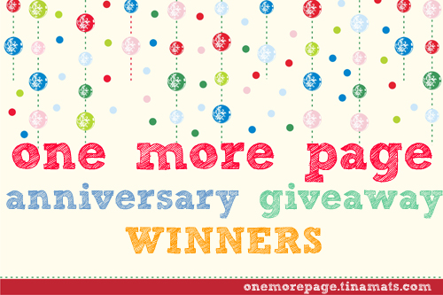 One More Page Anniversary Giveaway Winners